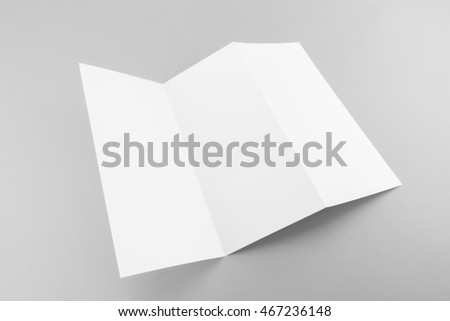 Blank Trifold white template paper with soft shadows