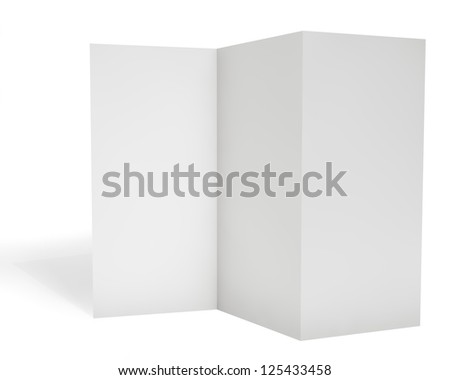 Blank triple leaflet template isolated on white background. - stock photo