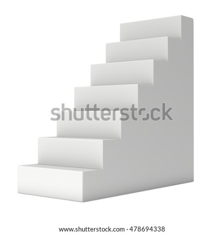 Blank Up Stairs. 3d render illustration isolated on white.