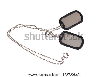 blank US army dog tags on white - stock photo