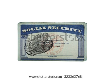 Blank US social security card with fingerprint isolated on white                                - stock photo