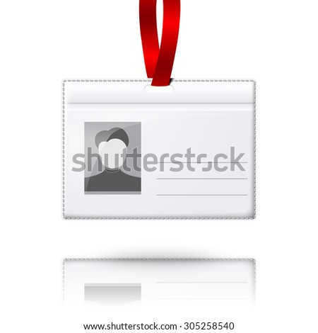Blank  vertical badge holder with place for photo and text. With bright light lace. Isolated on grey background for design and branding.
