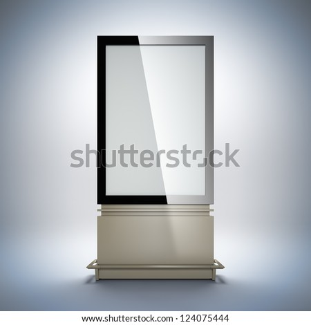 Blank vertical billboard. 3D illustration of blank template layout empty metal billboard with black frame for insert advertising banner. - stock photo