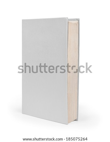 Blank vertical book cover template with pages in front side standing on white surface Perspective view - stock photo