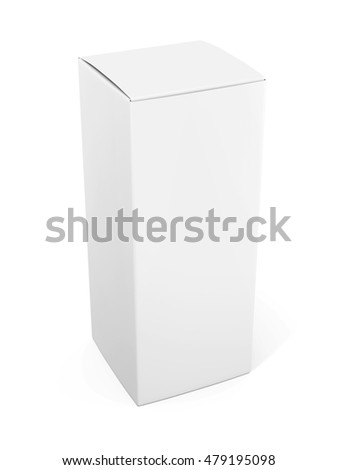 Blank vertical paper or cardboard box template standing on white background. 3d rendering.  Mock up for your design. 3d rendering.