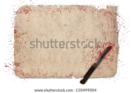 Blank vintage paper with knife and blood isolated over white. Copy space is available for your own text - stock photo