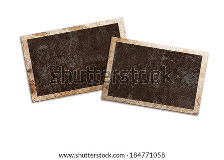 blank vintage photo on white background with clipping path - stock photo
