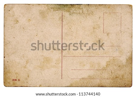 Blank Vintage Post Card isolated on white - stock photo