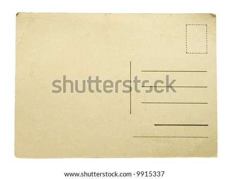 Blank vintage postcard ready for text. - stock photo