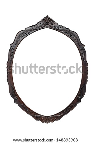 blank vintage wood oval shaped frame on white background with clipping path - stock photo