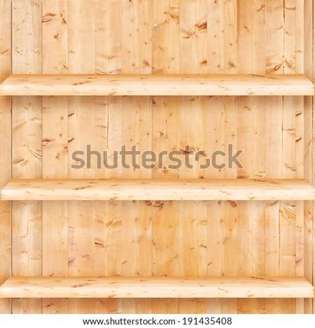 Blank vintage wooden bookshelf  - stock photo
