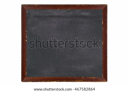 Blank vintage wooden picture frame made of wood in brown with blackboard inside with chalk stain, isolated on white background