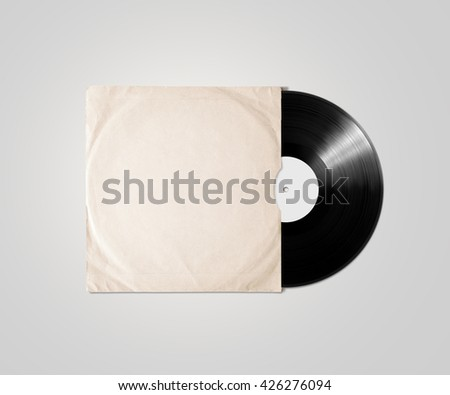 Blank vinyl album cover sleeve mockup, isolated, clipping path. Gramophone music plate clear surface mock up. Paper sound shellac disc label template. Vintage old grunge cardboard vinyl disk package - stock photo