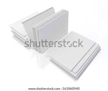 blank visit cards pile isolated on white background with reflection