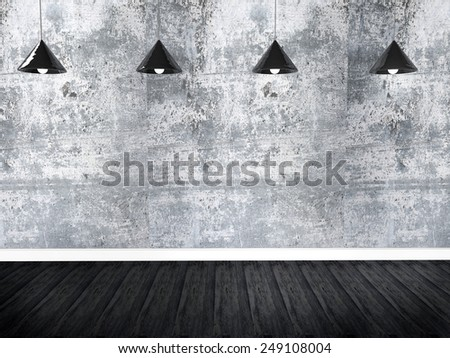 Blank wall with place for text illuminated by lamps above, 3d Illustration - stock photo