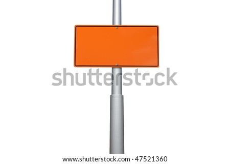 Blank warning construction sin on gray metal isolated on white background