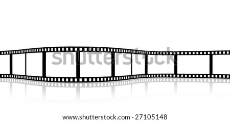 blank wavy film strip - stock photo