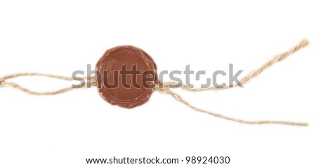 Blank wax seal  Post stamps , Empty seal wax with the cord isolated on white - stock photo