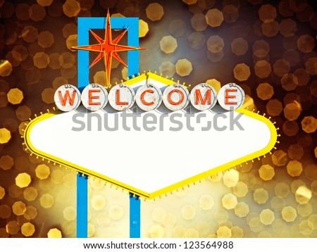 Blank Welcome To Las Vegas neon sign on yellow background - stock photo