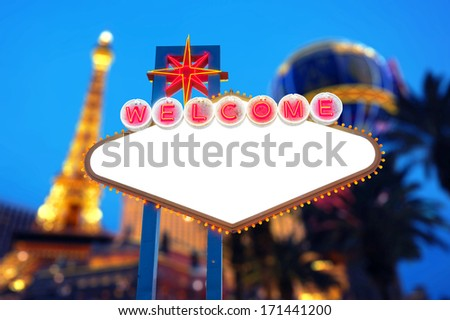 Blank Welcome to Las Vegas Sign with Las Vegas Strip in the background - stock photo