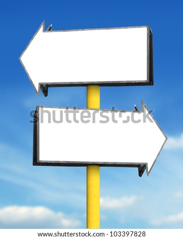 blank white arrow sign board in blue sky background - stock photo