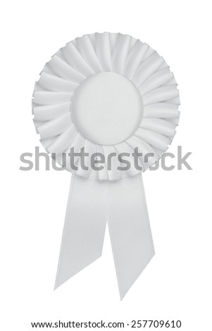 Blank white award rosette, ribbon isolated on white background with copy space - stock photo