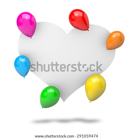 Blank White Badge Heart Shape with Vibrant Color Balloons Isolated on White Background 3D Illustration - stock photo