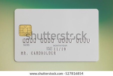 Blank white bank card on colorful background