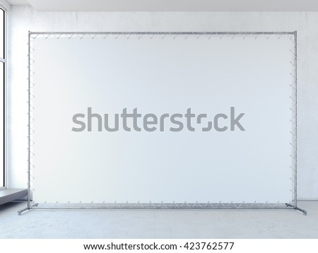 Blank white banner in bright interior. 3d rendering