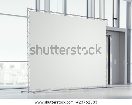 Blank white banner in the modern  office hall. 3d rendering