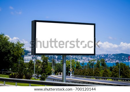 Blank White Billboard and Bosphorus River; Blue Sky