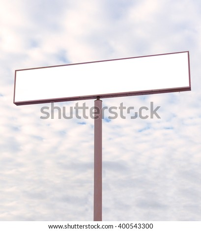 Blank white billboard at blue sky background, mock up,Ready for product display montage.