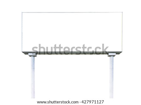 blank  white billboard for outdoor advertising  on white background,ready for product display montage,advertisement.