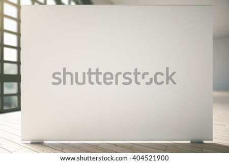 Blank white billboard in room with light wooden floor and window. Mock up, 3D Rendering