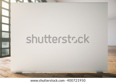 Blank white billboard in room with wooden floor and window. Mock up, 3D Rendering