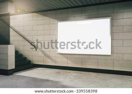 Blank white billboard in subway, mock up 3D Render - stock photo