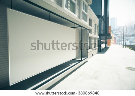 Blank white billboard instead showcase on the building, mock up 3D Render - stock photo