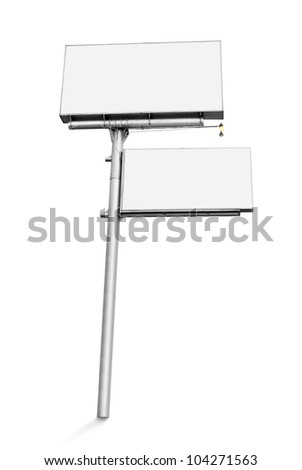 blank white billboard isolated on white background