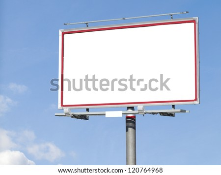 Blank white billboard on blue sky for your advertisement background - stock photo