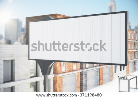 Blank white billboard on the city street, mock up 3D Render - stock photo