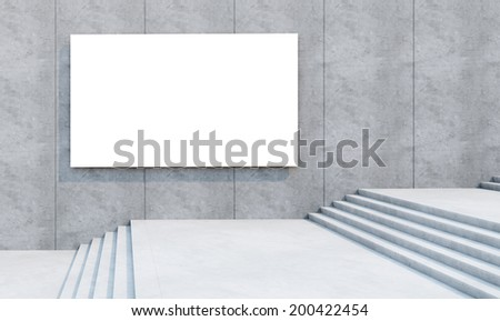 blank white billboard on the concrete wall - stock photo