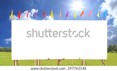blank white billboard on the edge of country road blue sky with spot light.  - stock photo