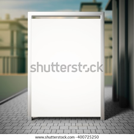 Blank white billboard outside on grey tile. Mock up, 3D Rendering - stock photo