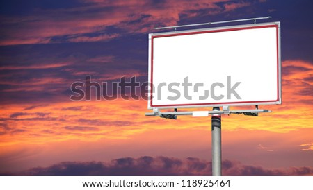 Blank white billboard over evening sky for your advertisement background - stock photo