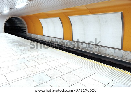 Blank white billboards in empty subway station, mock up 3D Render - stock photo