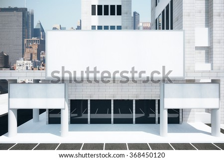Blank white billboards in financial district of megapolis city at sunrise, mock up 3D Render - stock photo