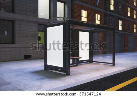 Blank white billboards on bus station on night city street, mock up 3D Render - stock photo