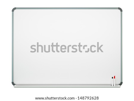 Blank White Board Isolated on White Background  - stock photo