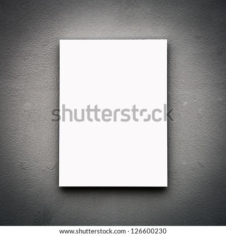 Blank White Board On Wall - stock photo