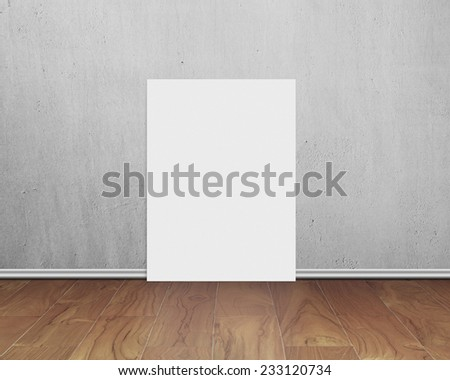 blank white board with gray concrete wall on wooden floor background